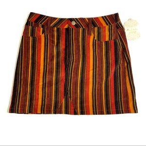 Altar'd State Skirt Corduroy Burgundy Multi Stripe